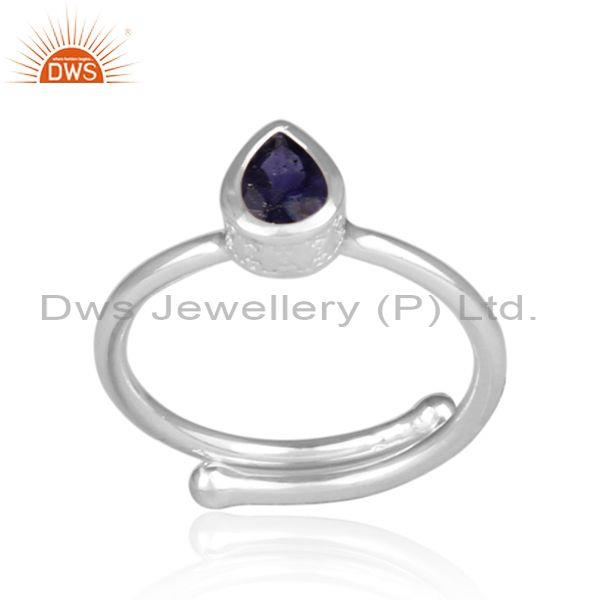Fine 925 Sterling Silver Tear Drop Cut Iolite Set Fancy Ring