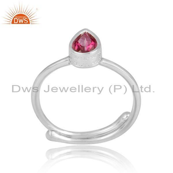 Pink Topaz Set Pear Cut Fine Silver Adjustable Designer Ring