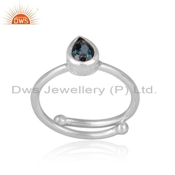 London blue topaz set pear cut fine silver adjustable ring