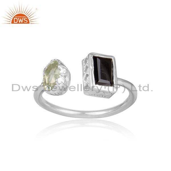 Green Amethyst, Black Spinal Set Fine 925 Silver Open Ring