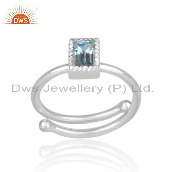 Rectangle Blue Topaz Set Fine Sterling Silver Designer Ring