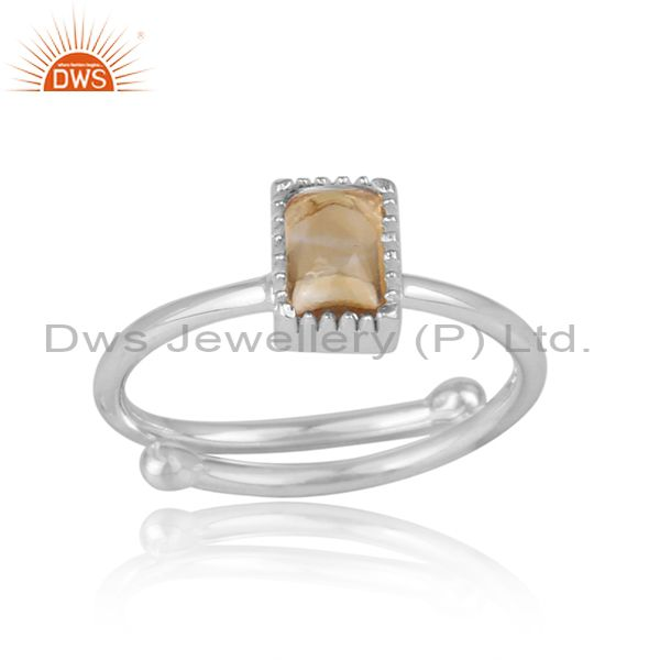 Rectangle citrine set fine 925 sterling silver designer ring