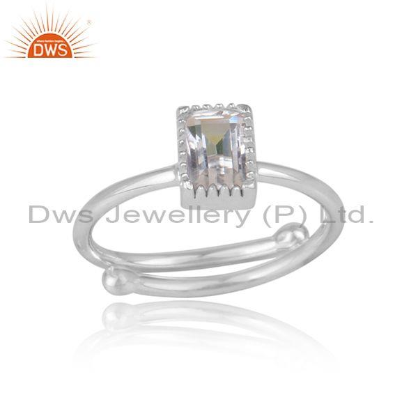 Rectangle crystal quartz set fine 925 silver designer ring