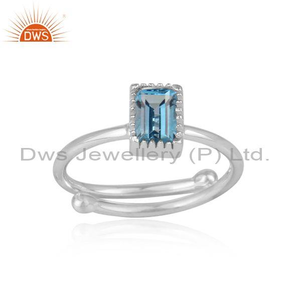 Rectangle London Blue Topaz Set Fine Silver Designer Ring