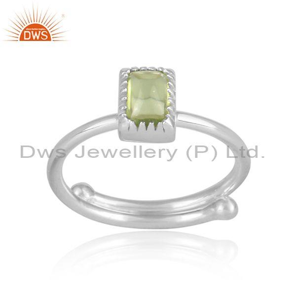 Rectangle peridot set fine 925 sterling silver designer ring