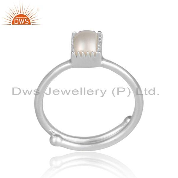 Rectangle pearl set fine 925 sterling silver designer ring