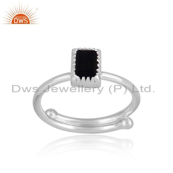 Rectangle cut black spinal set fine 925 silver designer ring
