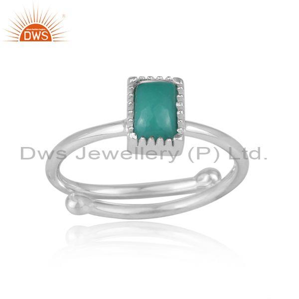 Rectangular Cut Arizona Turquoise Fine Silver Designer Ring
