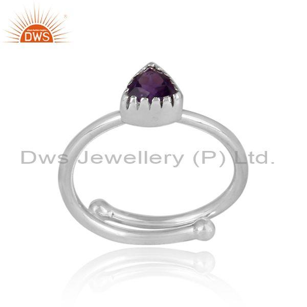 Triangle Cut Amethyst Set Fine Sterling Silver Designer Ring