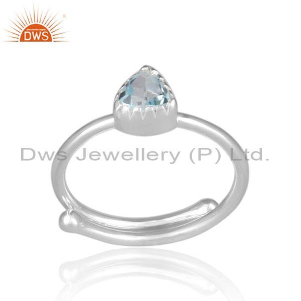 Triangular Blue Topaz Set Fine Sterling Silver Designer Ring