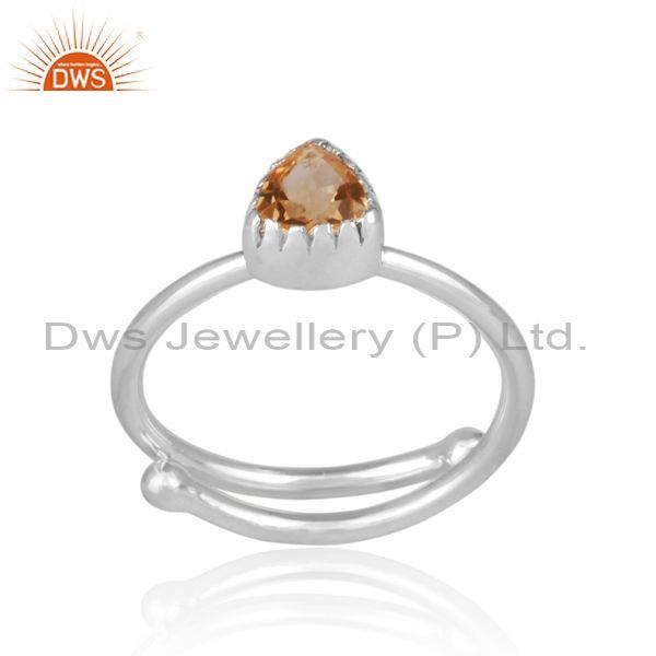Triangle Cut Citrine Set Fine Sterling Silver Designer Ring