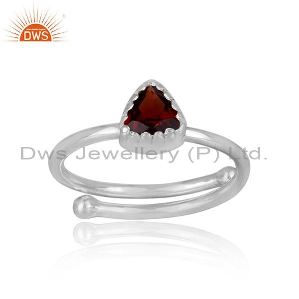 Triangle Cut Red Garnet Set Fine 925 Silver Designer Ring