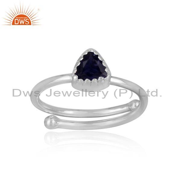 Triangle cut iolite set fine sterling silver designer ring
