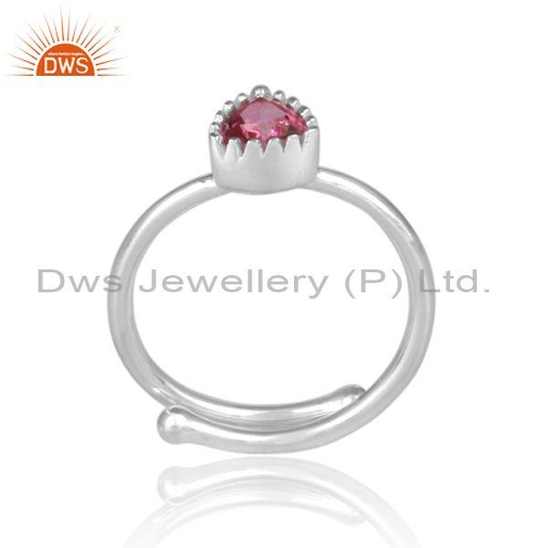 Triangle cut pink topaz set fine 925 silver designer ring