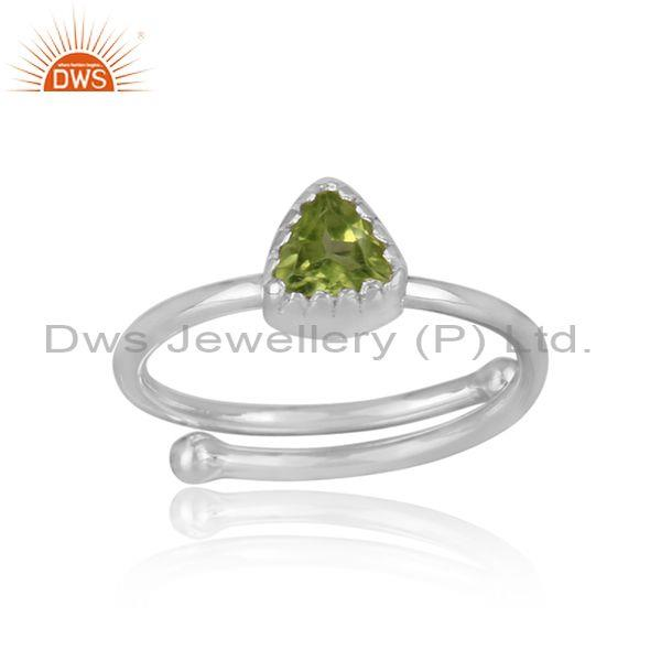 Triangle Cut Peridot Set Fine Sterling Silver Designer Ring