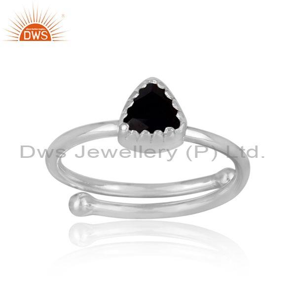 Triangle Cut Black Spinal Set Fine 925 Silver Designer Ring