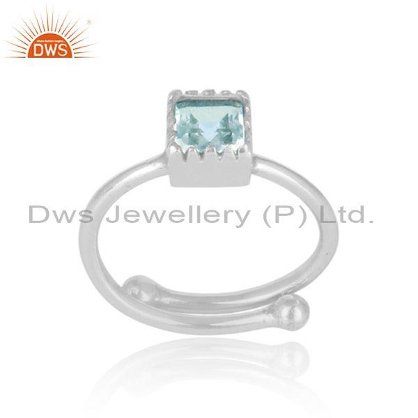 Square Cut Blue Topaz Set Fine Sterling Silver Designer Ring
