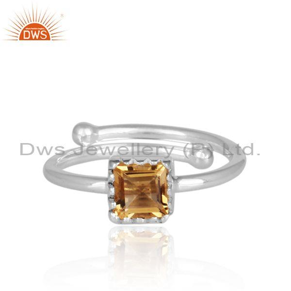 Square Cut Citrine Set Fine Sterling Silver Designer Ring