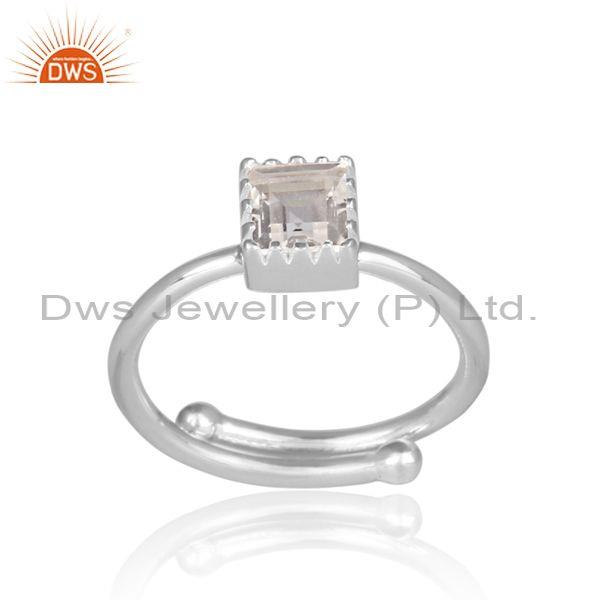Square cut crystal quartz set fine 925 silver designer ring