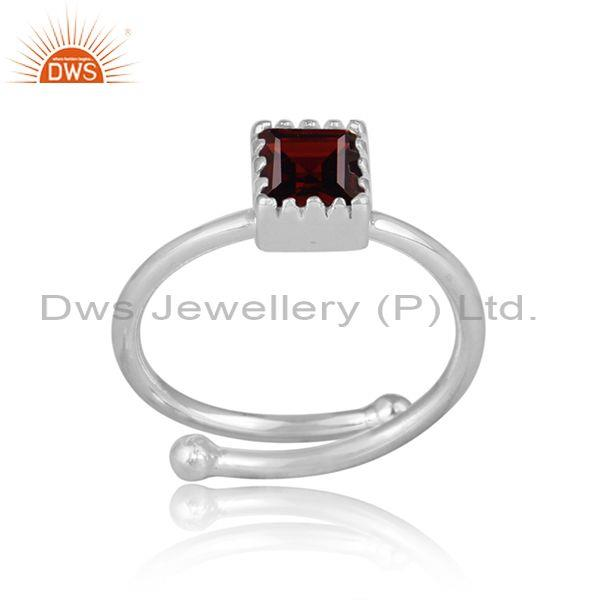 Square Cut Red Garnet Set Fine Sterling Silver Designer Ring
