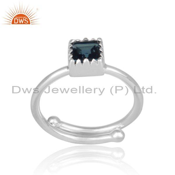 Square Cut London Blue Topaz Set Fine Silver Designer Ring