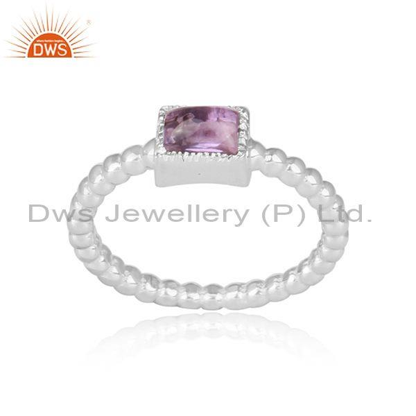 Square Cut Amethyst Set Fine 925 Silver Twisted Fancy Ring