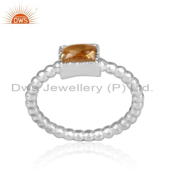 Square cut citrine set fine 925 silver twisted fancy ring