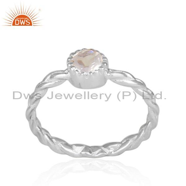 Hand Hammered Crystal Quartz Set Fine Silver Twisted Ring