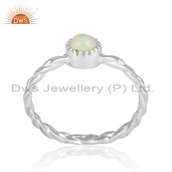 Hand Hammered Ethiopian Opal Set Fine Silver Twisted Ring