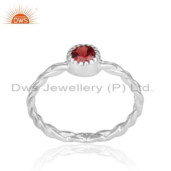 Hand Hammered Garnet Set Fine Sterling Silver Twisted Ring