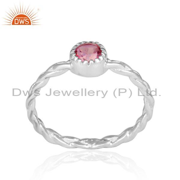 Hand hammered pink topaz set fine 925 silver twisted ring