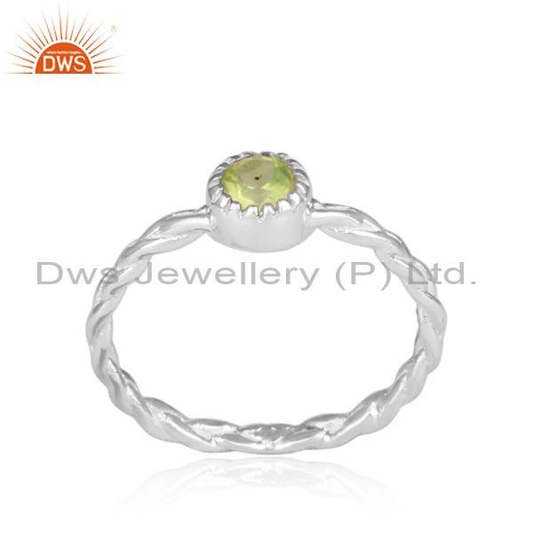 Hand Hammered Peridot Set Fine Sterling Silver Twisted Ring