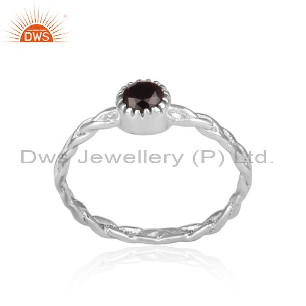 Hand Hammered Black Spinal Set Fine 925 Silver Twisted Ring