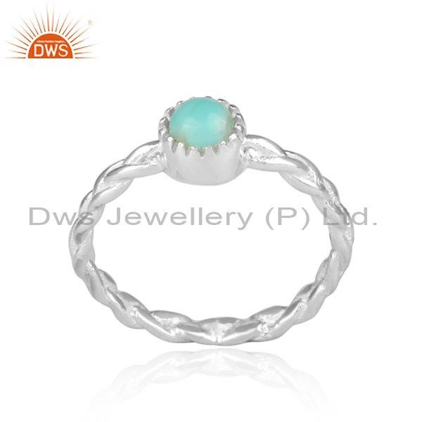 Hand Hammered Arizona Turquoise Set Fine Silver Twisted Ring
