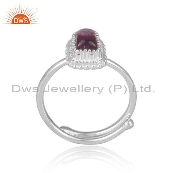 Amethyst set rectangular fine 925 silver crown shaped ring
