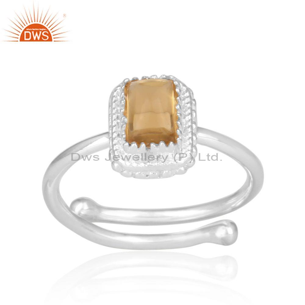 Citrine set rectangular fine 925 silver crown shaped ring