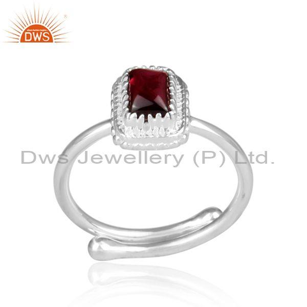 Garnet Set Fine 925 Sterling Silver Intricate Designer Ring