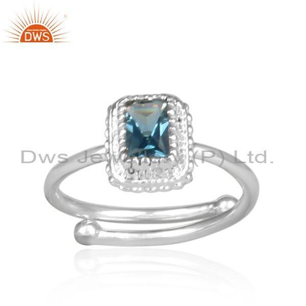 London blue topaz rectangular fine silver crown shaped ring