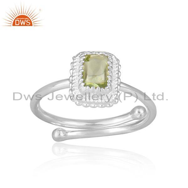 Peridot Set Rectangular Fine 925 Silver Crown Shaped Ring