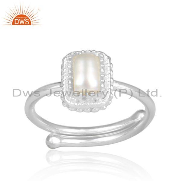 Pearl set rectangular fine sterling silver crown shaped ring