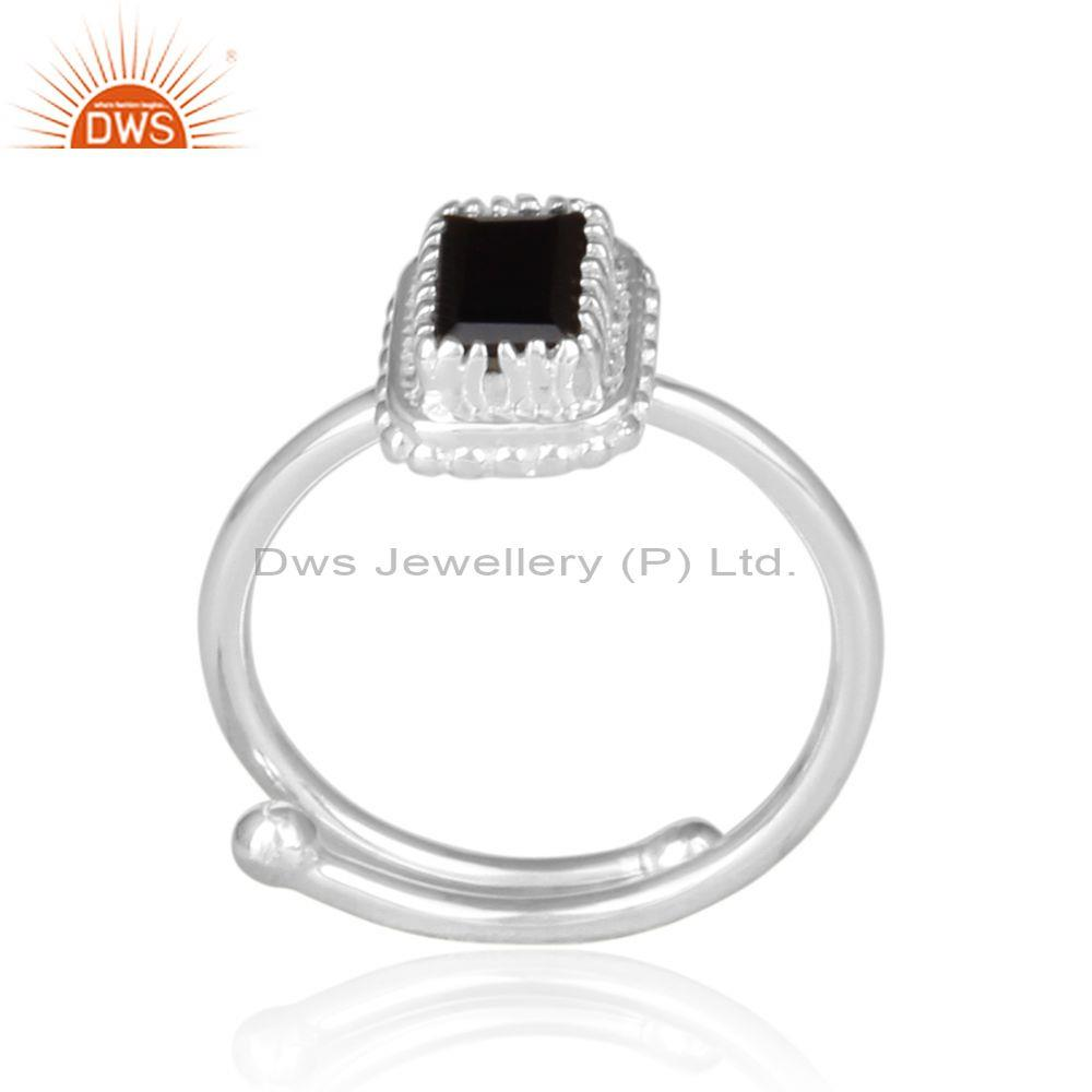 Black spinal set rectangular fine silver crown shaped ring
