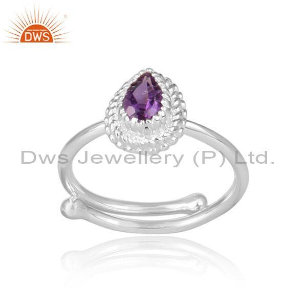 Amethyst set fine 925 silver pear shaped crown shaped ring
