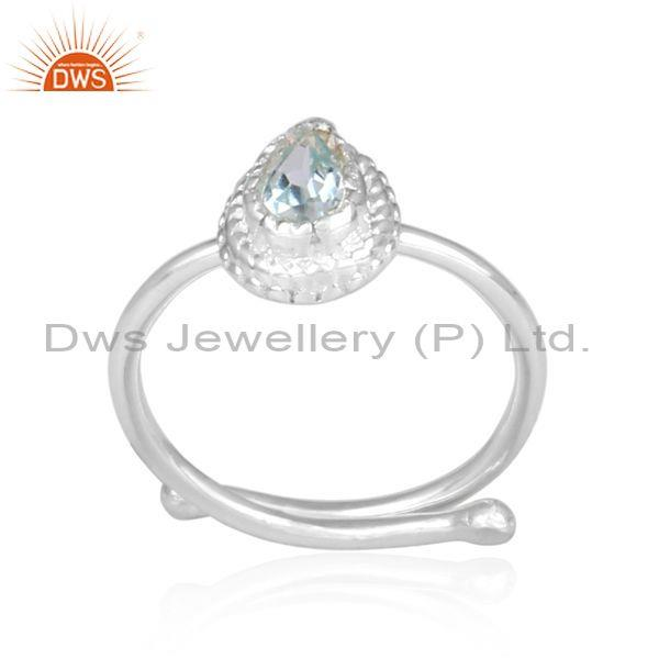 Blue topaz set fine silver pear shaped crown shaped ring