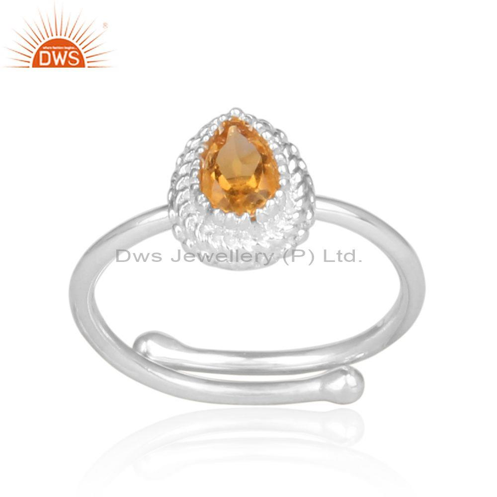 Citrine set fine 925 silver pear shaped crown shaped ring