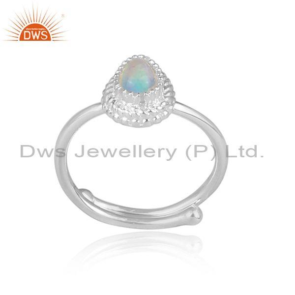 Ethiopian opal set fine sterling silver tear drop shape ring