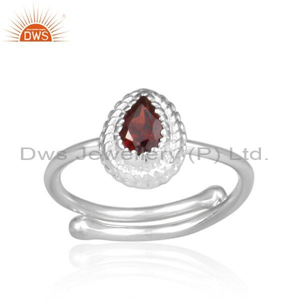 Red garnet set fine 925 silver pear shaped crown shaped ring