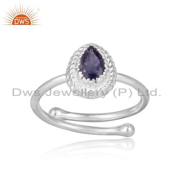 Iolite set fine 925 silver pear shaped crown shaped ring
