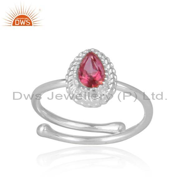 Pink topaz set fine 925 silver pear shaped crown shaped ring