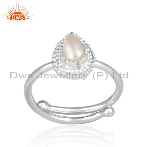 Pearl set fine 925 sterling silver designer statement ring