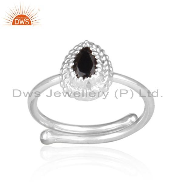 Black spinal set fine 925 silver intricate designer ring